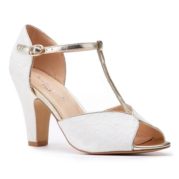 Pink Paradox Quentin - Ivory Non-Dyeable Satin and Lace Peeptoe Heels