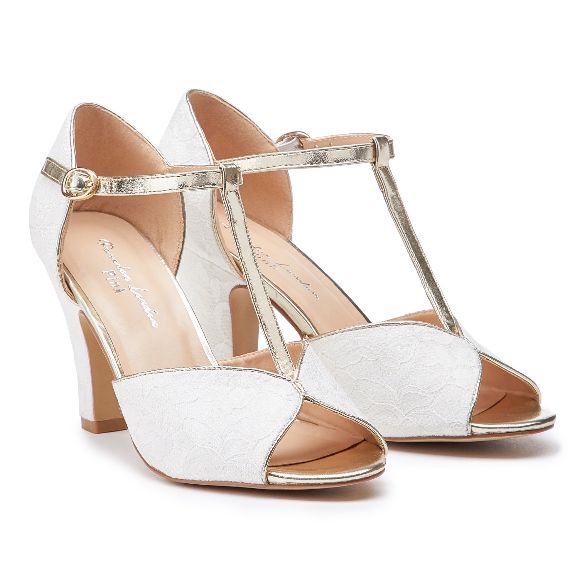 a648de061d Pink Paradox Quentin - Ivory Non-Dyeable Satin and Lace Peeptoe Heels