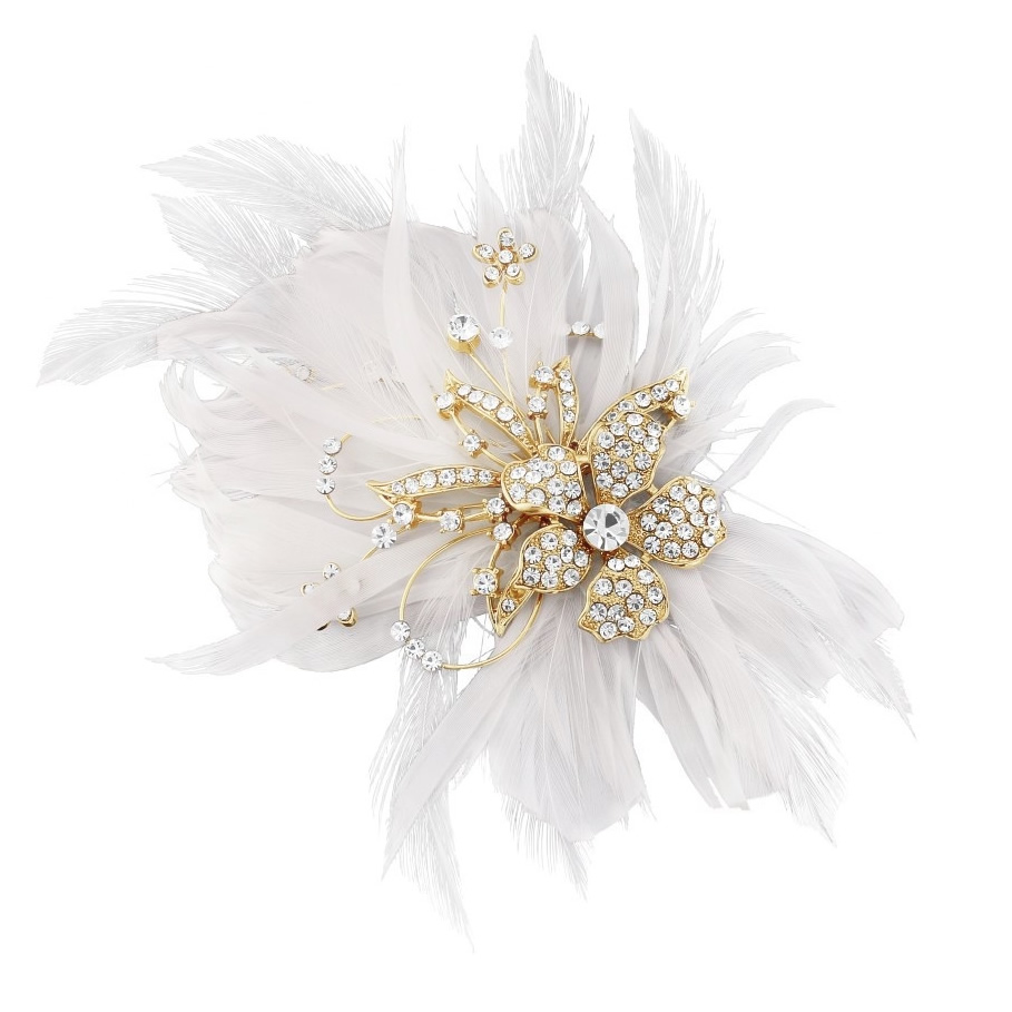 Seraphina Gold Feather Bridal Clip