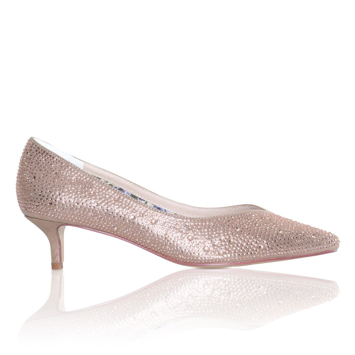 Perfect Bridal Stella Shoes - Crystal Encrusted Gold Satin