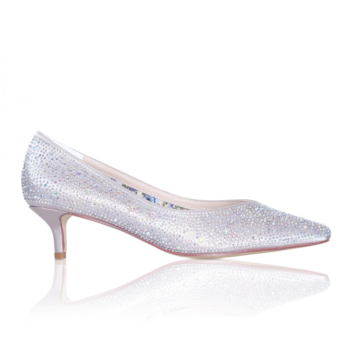 Perfect Bridal Stella Shoes - Crystal Encrusted Nude Satin