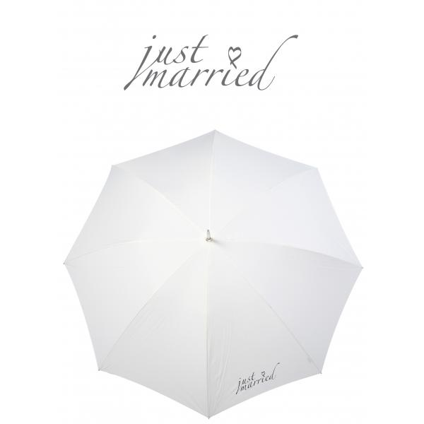 Poirier Round Wedding Umbrella- 'Just Married'