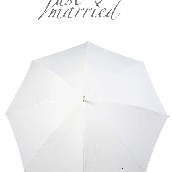 Poirier Round Wedding Umbrella- 'Just Married'