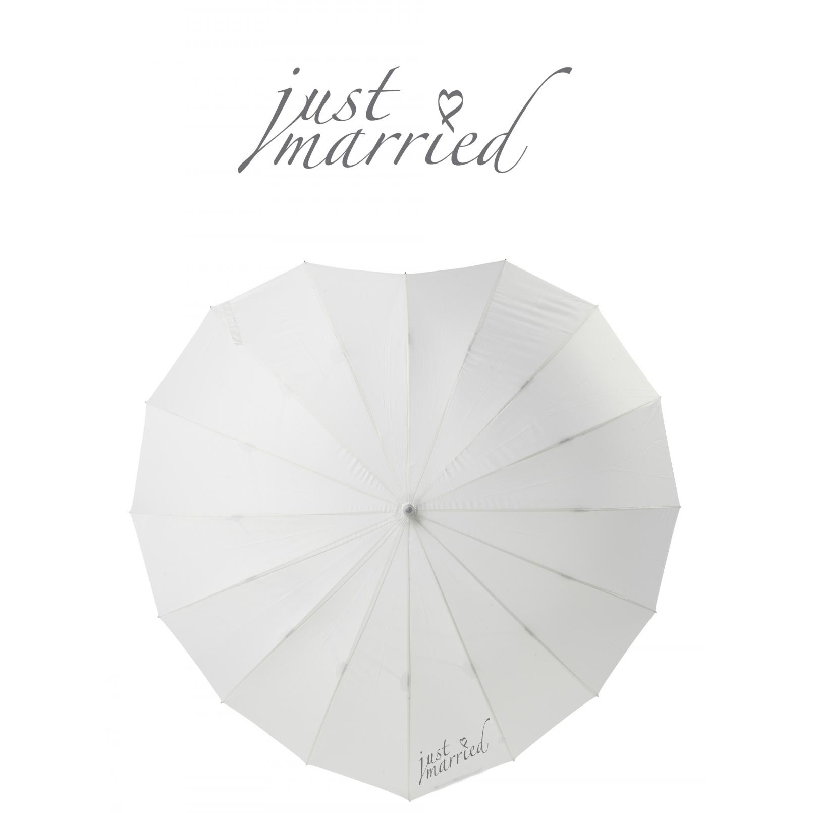 Poirier Heart Wedding Umbrella - Just Married