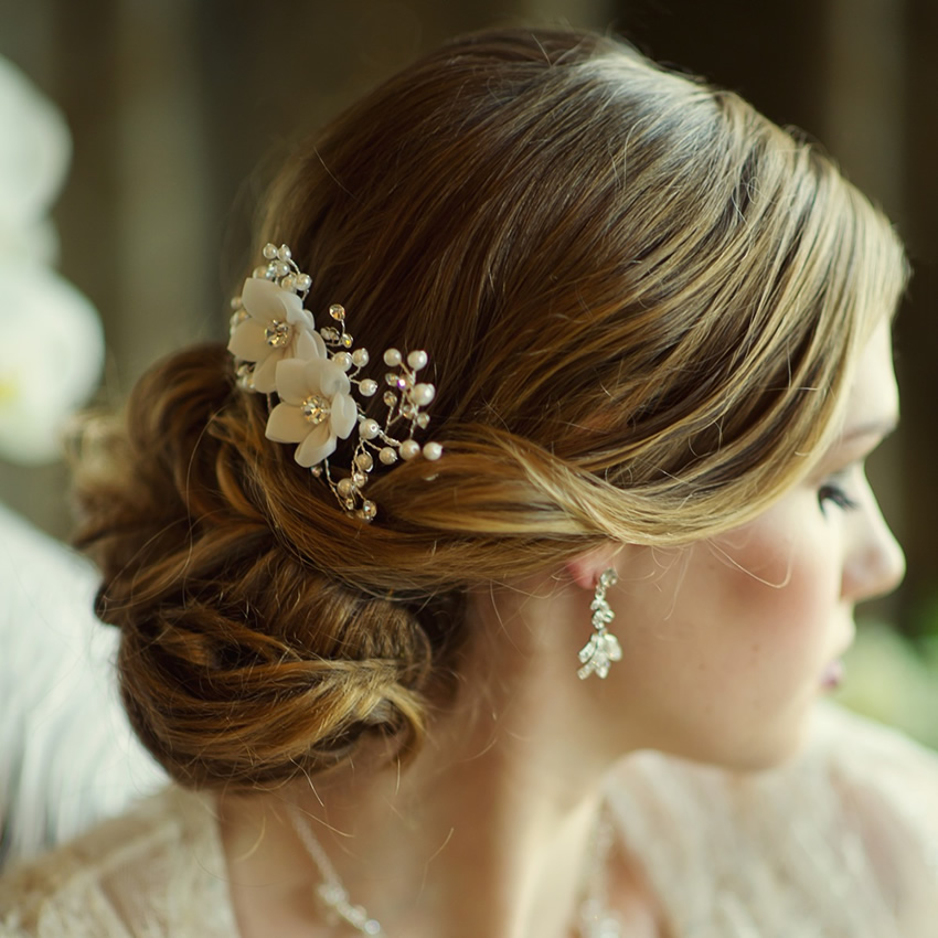 Vivian Fabric Wedding Comb