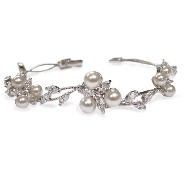 Ivory and Co Waterlily Cubic Zirconia and Pearl Bracelet