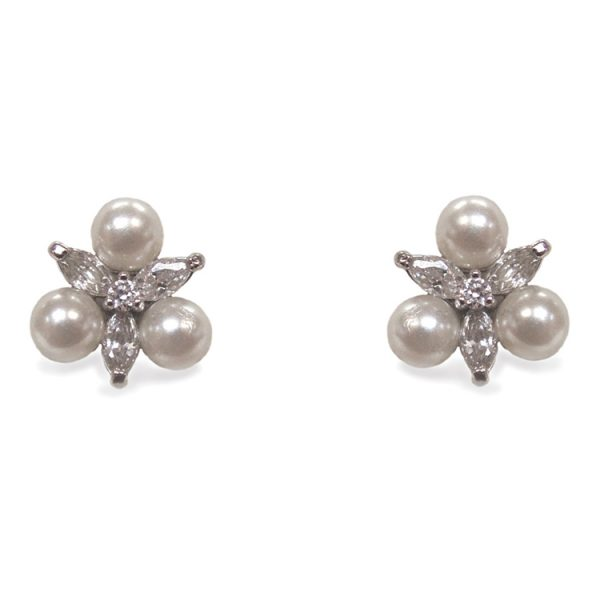 Ivory and Co Waterlily Cubic Zirconia and Pearl Earrings