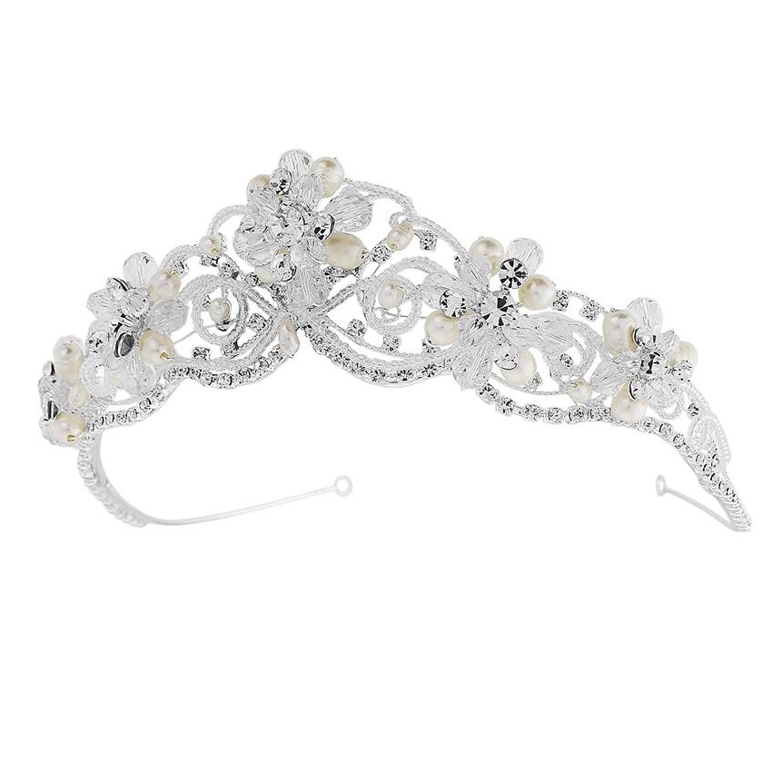 Adelina Silver Pearl Wedding Tiara