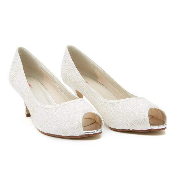Rainbow Club Ava - Ivory lace peep toe shoe