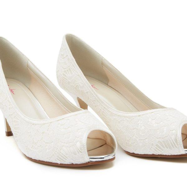 Rainbow Club Ava - Ivory lace peep toe shoe