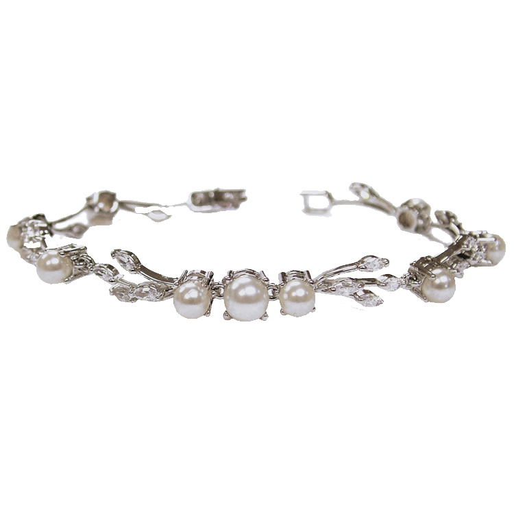 Ivory and co Belgravia Cubic Zirconia and Pearl Bracelet