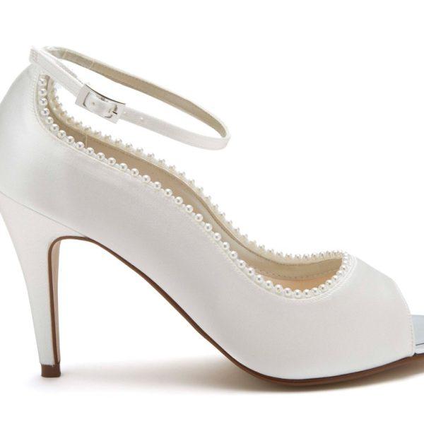 Rainbow Club Bella - Ivory Satin Peep Toe Shoe