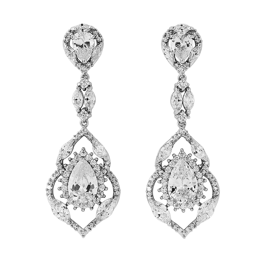 Cubic Zirconia Bridal Drop Earrings
