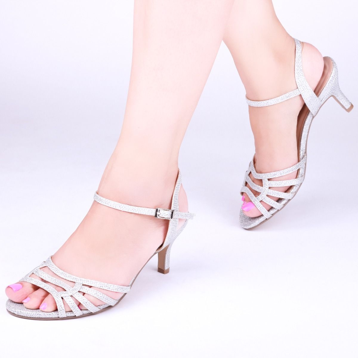 8f5605cd0b Pink Paradox Laurie Wide Fit - Low Heel Silver Glitter Strappy Sandal