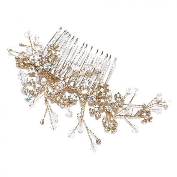 Ivory and Co Medium Gold Crystal Comb