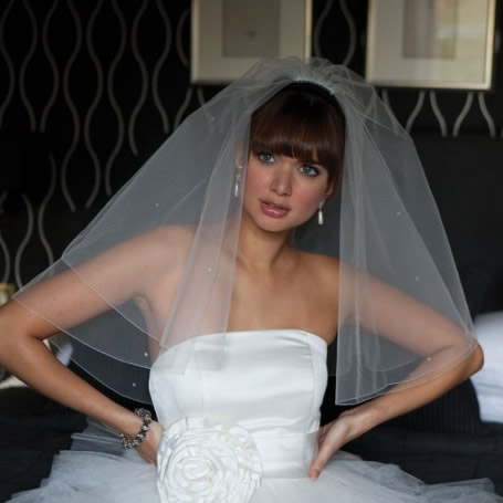 Joyce Jackson Marsala Wedding Veil
