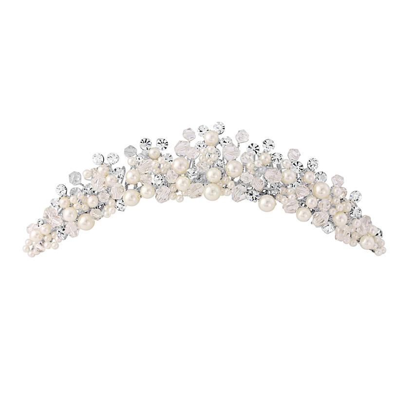 Marietta Pearl Veil Tiara Comb