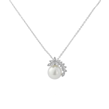CZ Collection Chic Pearl Necklace