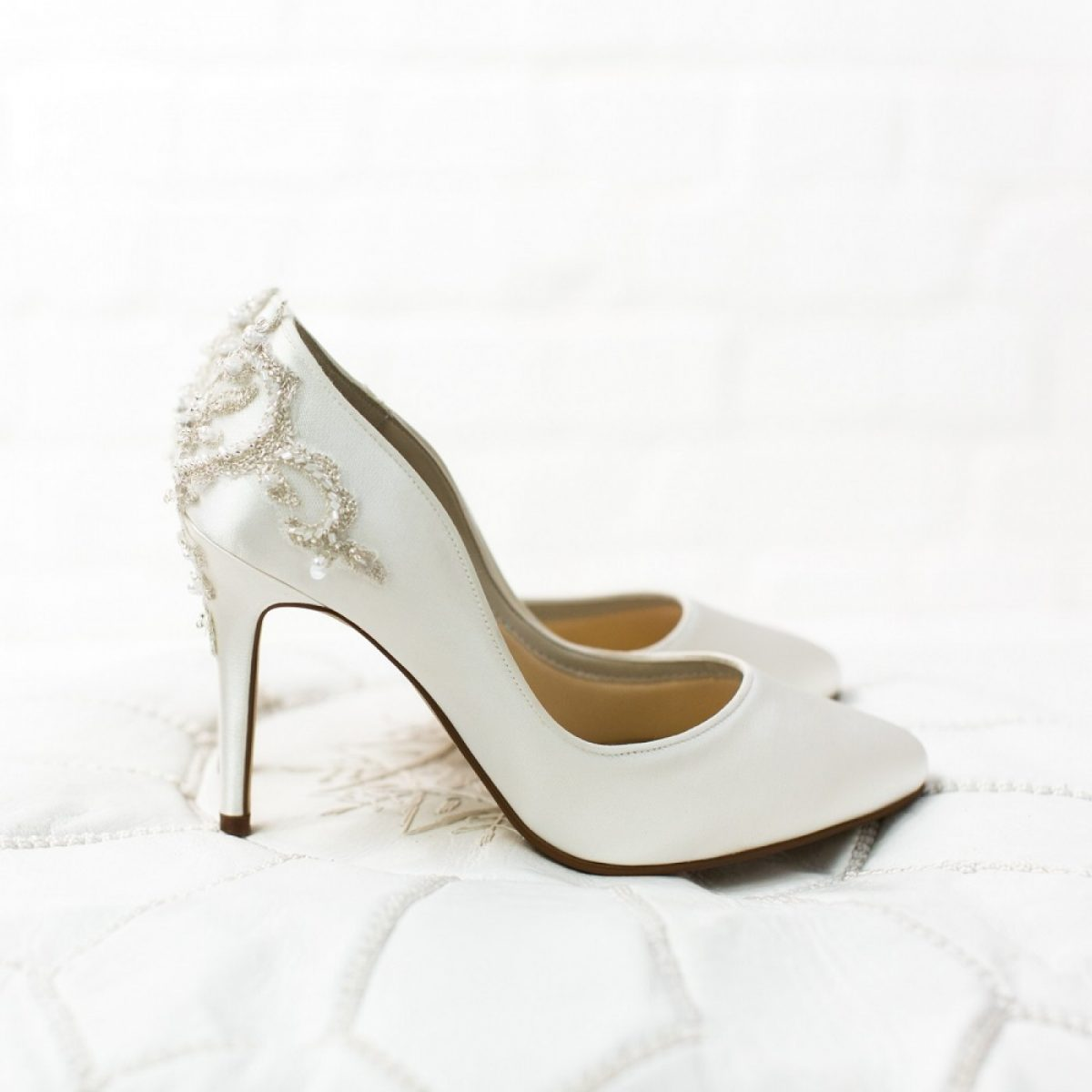 Rainbow Club Willow - Ivory Satin Embellished Heel Court Shoes
