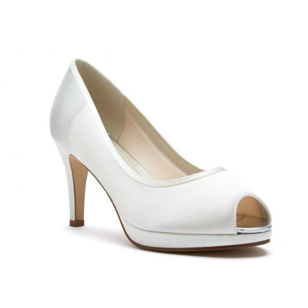 Rainbow Club Amber - Ivory Satin Peep Toe