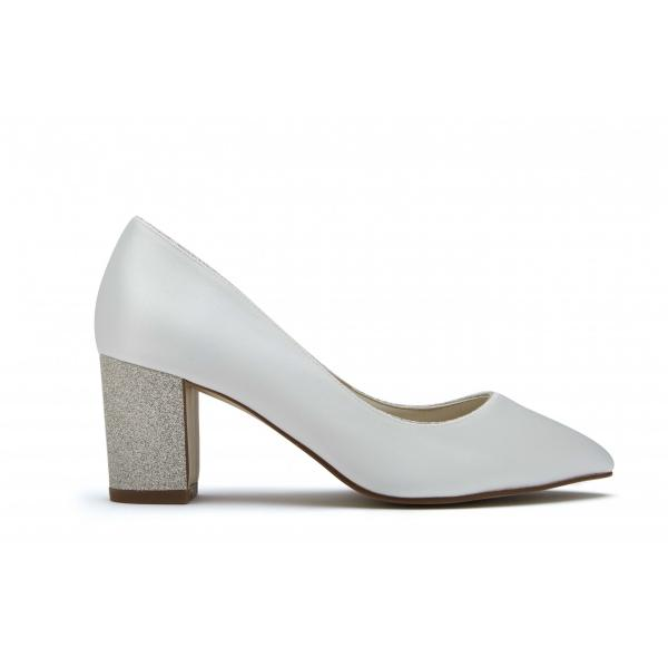 Rainbow Club Bambi - Ivory Satin & Shimmer Heel Court Shoe