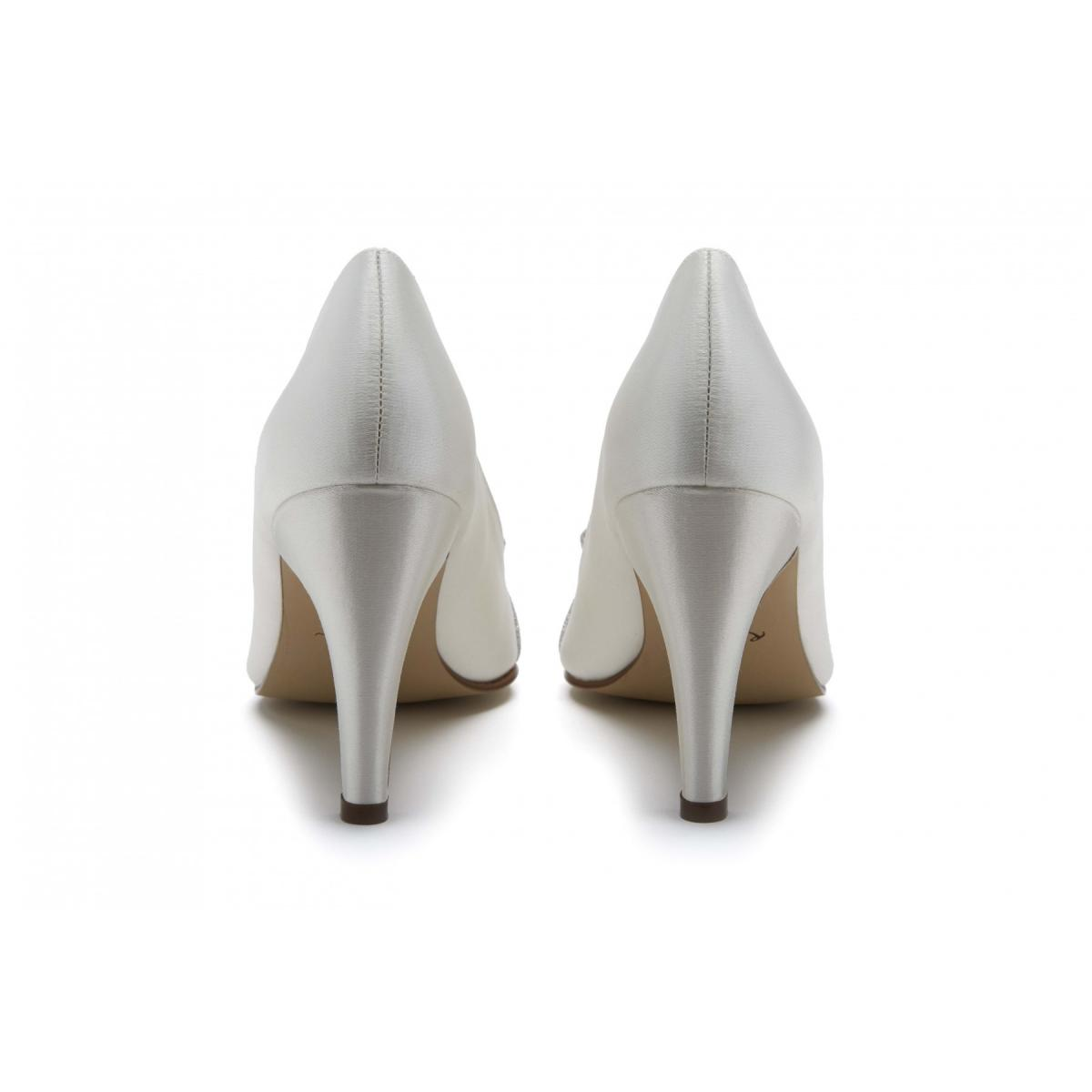 Rainbow Club Caprice - Ivory Satin & Shimmer Bow Court Shoe