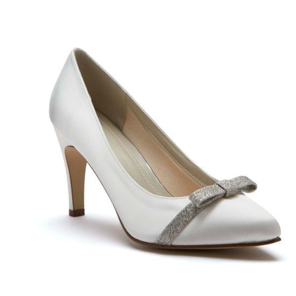 Rainbow Club Caprice - Ivory Satin & Shimmer Bow Court Shoe