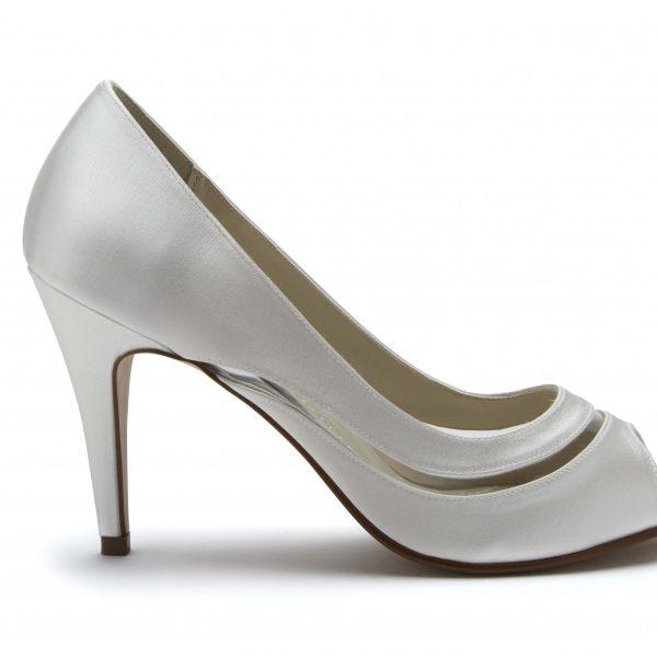 Rainbow Club Eloisa - Ivory Satin & PVC Peep Toe Shoe