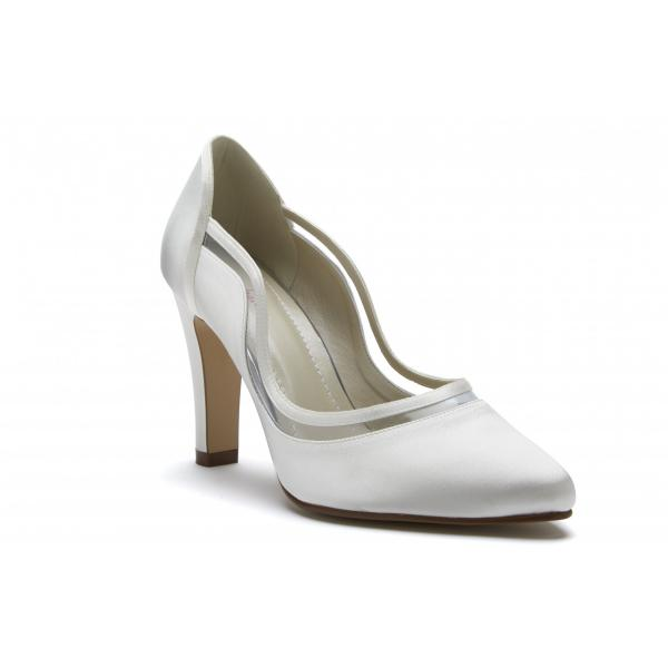Rainbow Club Farrah - Ivory Satin & PVC Court Shoe