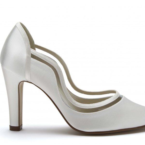 Rainbow Club Farrah - Ivory Satin & PVC Court Shoe