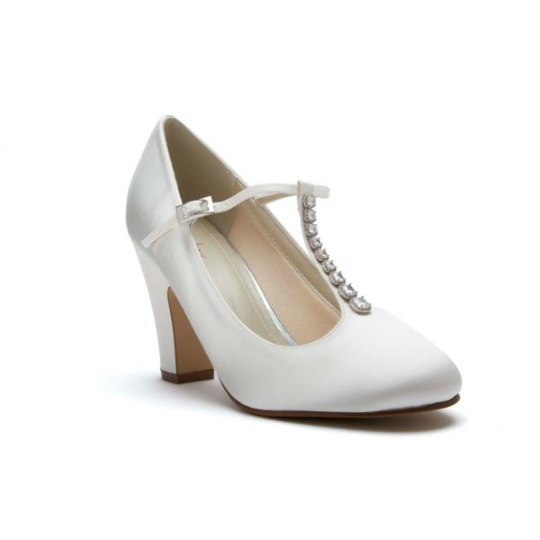 Rainbow Club Frankie - Ivory Satin T-Bar Court Shoe