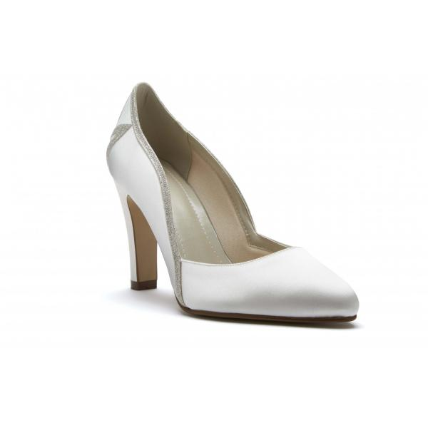 Rainbow Club Kourtney - Ivory Satin & Shimmer Court Shoe