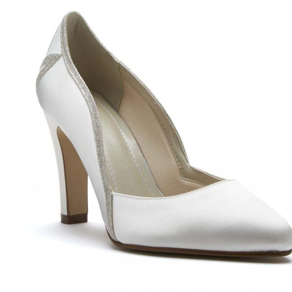 Rainbow Club Kourtney - Ivory Satin & Shimmer Court Shoe