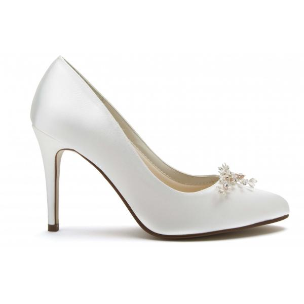 Rainbow Club Margot - Ivory Satin Court Shoes With Floral Crystal Trim