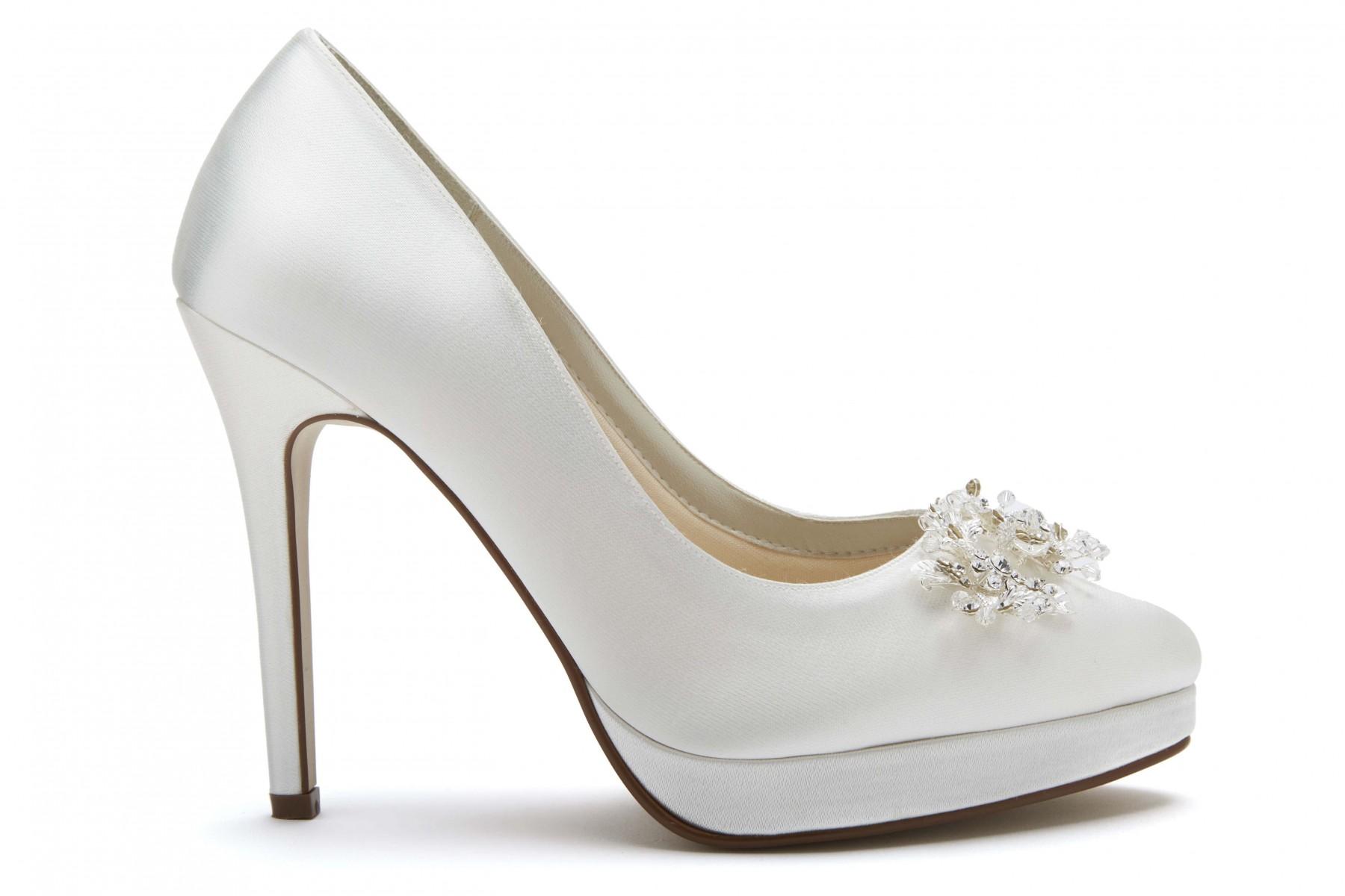 8b40af983e9 Rainbow Club Skye - Ivory Satin Platform Shoes with Floral Crystal Trim