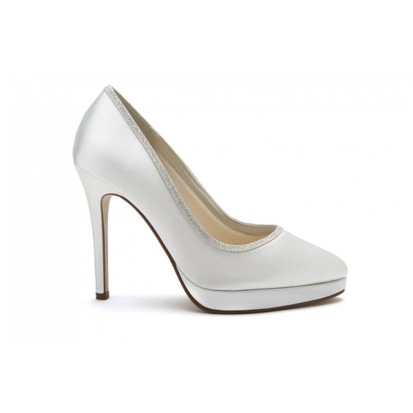 Rainbow Club Tallula - vory Satin & Shimmer Court Shoe