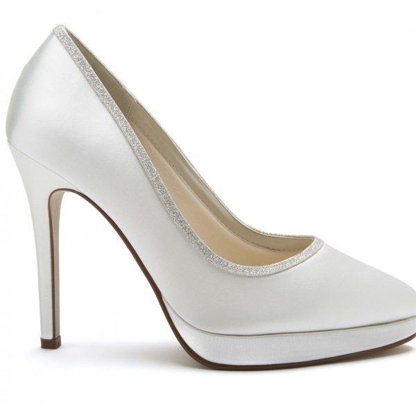 Rainbow Club Tallula - vory Satin & Shimmer Court Shoe