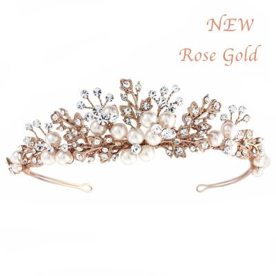 Sass B Tess Luxe Pearl Tiara - Rose Gold