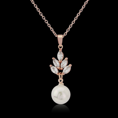 CZ Collection Vintage Pearl Drop Necklace - Rose Gold