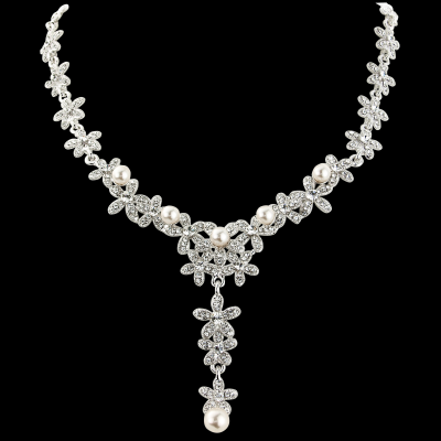 CZ Collection Crystal Pearls Bridal Necklace - Clear