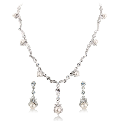 Athena Crystal Chic Bridal Necklace Set
