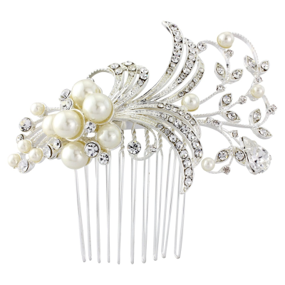 Sass B Vera Pearl Hair Comb Ivory/ Silver