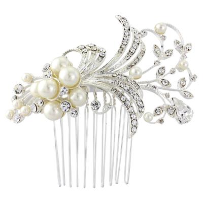 Sass B Vera Pearl Hair Comb Ivory/ Silver