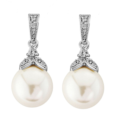 CZ Collection Opulence Pearl Earrings