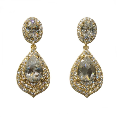 CZ Collection Gatsby Dainty Treasure Earrings - Gold