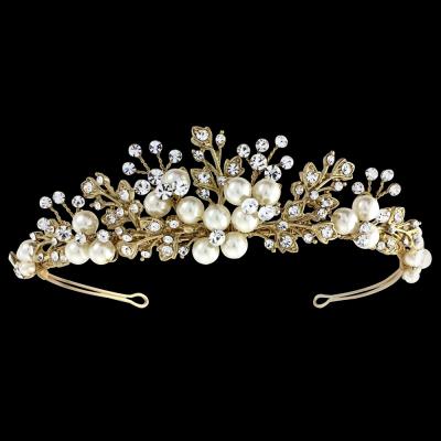 Sass B Tess Luxe Pearl Tiara - Gold