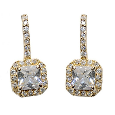 CZ Collection Timeless Beauty Earrings - Gold