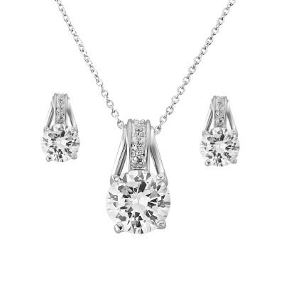 CZ Collection Crystal Grace Necklace Set