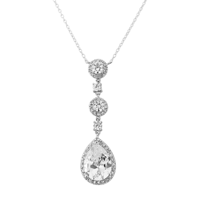 CZ Collection Eternally Crystal Necklace - Silver