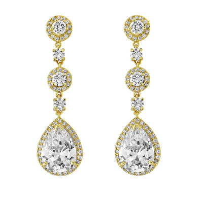CZ Collection Eternally Crystal Earrings - Gold